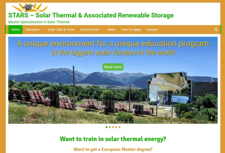 EUREC Solar thermal specialization STARS new website is online